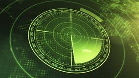 Οθόνη σόναρ για τα υποβρύχια και τα σκάφη Σόναρ ραντάρ με το αντικείμενο στο χάρτη ελεύθερη απεικόνιση δικαιώματος