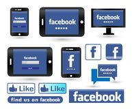 Οθόνη σύνδεσης Facebook στο λογότυπο εικονιδίων PC τηλεφώνων και πινάκων στοκ εικόνες με δικαίωμα ελεύθερης χρήσης