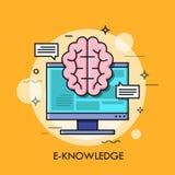 Οθόνη υπολογιστή και εγκέφαλος διανυσματική απεικόνιση