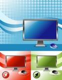 οθόνη υπολογιστή 3 χρωμάτω διανυσματική απεικόνιση