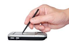 οθόνη χεριών palmtop σχετικά με Στοκ φωτογραφίες με δικαίωμα ελεύθερης χρήσης