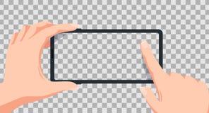 Οθόνη Smartphone Smartphone στη διανυσματική απεικόνιση χεριών ελεύθερη απεικόνιση δικαιώματος