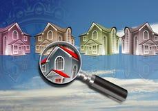 'Οικίαες που φαίνονται μέσω πιό magnifier διανυσματική απεικόνιση
