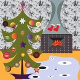 'Οικία' που διακοσμείται για τα Χριστούγεννα Ιταλική ατμόσφαιρα διανυσματική απεικόνιση