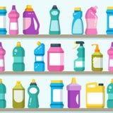 Οικιακά αγαθά και καθαρίζοντας προμήθειες στο άνευ ραφής διανυσματικό υπόβαθρο ραφιών υπεραγορών ελεύθερη απεικόνιση δικαιώματος