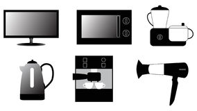 οικιακά εικονίδια συσκευών που τίθενται ελεύθερη απεικόνιση δικαιώματος