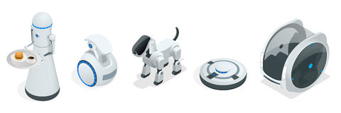 Οικιακά isometric ρομπότ που κατασκευάζονται για τη βοήθεια και την ευκολία ανθρώπων Στοκ Εικόνα