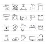 Οικιακές συσκευές και εικονίδια ηλεκτρονικής Στοκ Εικόνα