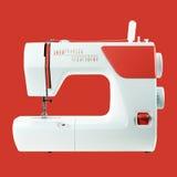 Οικιακές συσκευές - κόκκινο υπόβαθρο ράβω-μηχανών Στοκ Φωτογραφία