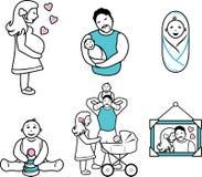 Οικογένεια Έξι σχέδια περιγράμματος κινούμενων σχεδίων Στοκ εικόνες με δικαίωμα ελεύθερης χρήσης