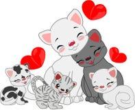 Οικογένεια γατών κινούμενων σχεδίων Στοκ Εικόνες