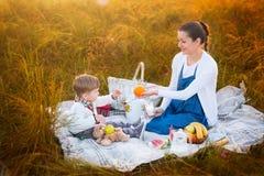 οικογένεια ευτυχής Έγκυος μητέρα και λίγος γιος σε ένα πικ-νίκ Η έννοια του τρόπου ζωής και της παιδικής ηλικίας Στοκ Εικόνες