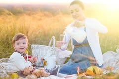οικογένεια ευτυχής Έγκυος μητέρα και λίγος γιος σε ένα πικ-νίκ Η έννοια του τρόπου ζωής και της παιδικής ηλικίας Στοκ εικόνες με δικαίωμα ελεύθερης χρήσης