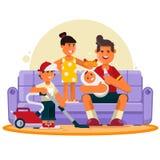 οικογένεια ευτυχής Ο μεγάλος πατέρας ξοδεύει το χρόνο με τα παιδιά επίσης corel σύρετε το διάνυσμα απεικόνισης ελεύθερη απεικόνιση δικαιώματος