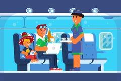 Οικογένεια ευτυχής στο αεροπλάνο, διακοπές, διακοπές, προορισμός ταξιδιού, ταξίδια ταξιδιών, μεταφορά επίσης corel σύρετε το διάν απεικόνιση αποθεμάτων
