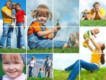 οικογένεια ευτυχής υπαίθρια Στοκ Εικόνα