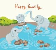 Οικογένεια ελεφάντων στην ευτυχή χρονική διανυσματική απεικόνιση Στοκ Φωτογραφίες