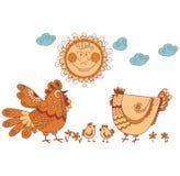 οικογένεια κοτόπουλου Στοκ Φωτογραφίες
