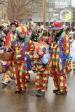 Οικογένεια κλόουν στην παρέλαση καρναβαλιού, Στουτγάρδη στοκ φωτογραφία με δικαίωμα ελεύθερης χρήσης