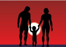 Οικογένεια με ένα μικρό παιδί στην παραλία Διακοπές θερινών οικογενειών από τη θάλασσα ή τον ωκεανό ευτυχής οικογένεια σκιαγραφιώ διανυσματική απεικόνιση