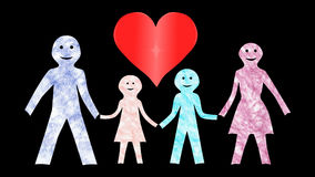 Οικογένεια με ένα Mom & μπαμπάς-καρδιά-ζωντανεψοντα έναν υπόβαθρο-διαφανή φιλμ μικρού μήκους