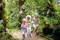 Οικογένεια με τα παιδιά που στη ζούγκλα Στοκ εικόνα με δικαίωμα ελεύθερης χρήσης