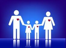 Οικογένεια με την καρδιά Στοκ Εικόνες