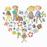 Οικογένεια με τη μητέρα ταξιδιού παιδιών, πατέρας, αδελφή, αδελφός boysenberries διανυσματική απεικόνιση