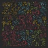 Οικογένεια με τη μητέρα ταξιδιού παιδιών, πατέρας, αδελφή, αδελφός boysenberries απεικόνιση αποθεμάτων