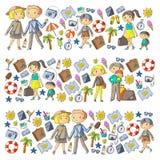 Οικογένεια με τη μητέρα ταξιδιού παιδιών, πατέρας, αδελφή, αδελφός boysenberries ελεύθερη απεικόνιση δικαιώματος