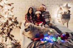 Οικογένεια με το σκυλί στη νέα παραμονή έτους ` s Στοκ Εικόνες