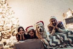 Οικογένεια με το σκυλί στη νέα παραμονή έτους ` s Στοκ Φωτογραφία