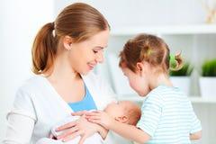 Οικογένεια μητέρα, νεογέννητο μωρό και μεγάλη αδελφή Στοκ Φωτογραφία