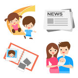 Οικογένεια, παιδιά και ειδήσεις Στοκ Εικόνες