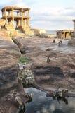 Οικογένεια πιθήκων μεταξύ των καταστροφών της αρχαίας πόλης, Ινδία Στοκ Εικόνες