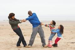 Οικογένεια που έχει τη διασκέδαση στη χειμερινή παραλία Στοκ εικόνες με δικαίωμα ελεύθερης χρήσης