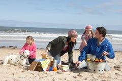 Οικογένεια που έχει τη σχάρα στη χειμερινή παραλία Στοκ Φωτογραφίες