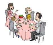 Οικογένεια που έχει το γεύμα διανυσματική απεικόνιση