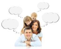 Οικογένεια που απομονώνεται ευτυχής στοκ εικόνα με δικαίωμα ελεύθερης χρήσης