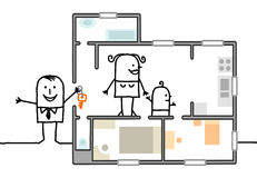 Οικογένεια που επισκέπτεται ένα νέο σπίτι ελεύθερη απεικόνιση δικαιώματος