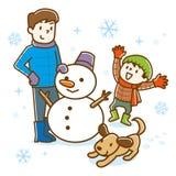 Οικογένεια που κάνει το χιονάνθρωπο το χειμώνα ελεύθερη απεικόνιση δικαιώματος