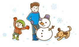 Οικογένεια που κάνει το χιονάνθρωπο το χειμώνα διανυσματική απεικόνιση