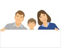 Οικογένεια που κρατά ένα έμβλημα Διανυσματική απεικόνιση