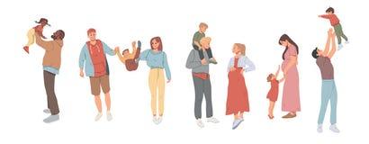 Οικογένεια που περπατούν μαζί, διακοπές εορτασμών και υπαίθρια δραστηριότητες Μητέρα, πατέρας και παιδιά Παραδοσιακός ελεύθερη απεικόνιση δικαιώματος