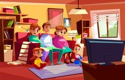 Οικογένεια που προσέχει τη διανυσματική απεικόνιση κινούμενων σχεδίων TV απεικόνιση αποθεμάτων