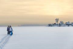 Οικογένεια που στέκεται στον πάγο της παγωμένης λίμνης πεζοπορία στο σπίτι, copyspace Στοκ φωτογραφία με δικαίωμα ελεύθερης χρήσης