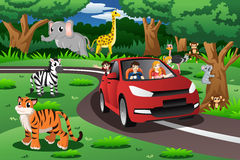 Οικογένεια σε ένα ταξίδι σε ένα ζωικό πάρκο απεικόνιση αποθεμάτων