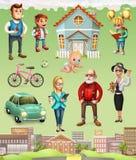 Οικογένεια Σπίτι τρισδιάστατο διανυσματικό σύνολο εικονιδίων Στοκ Εικόνες