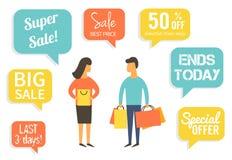 Οικογένεια στην πώληση Να κάνει ανδρών και γυναικών που ψωνίζει με την έκπτωση επίσης corel σύρετε το διάνυσμα απεικόνισης Στοκ Εικόνα