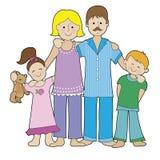 Οικογένεια στις πυτζάμες απεικόνιση αποθεμάτων